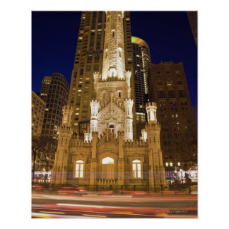 USA, Illinois, Chicago, Water Tower illuminated Poster