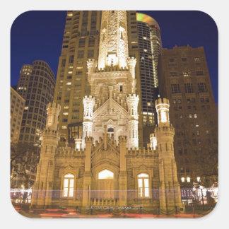 USA, Illinois, Chicago, Water Tower illuminated Square Sticker