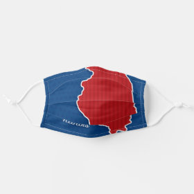USA Illinois State Patriotic Stars and Stripes Map Cloth Face Mask