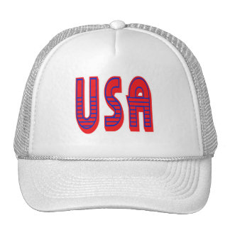 USA in Bold Red White and Blue Mesh Hats