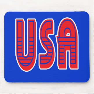 USA in Bold Red White and Blue Mouse Pad
