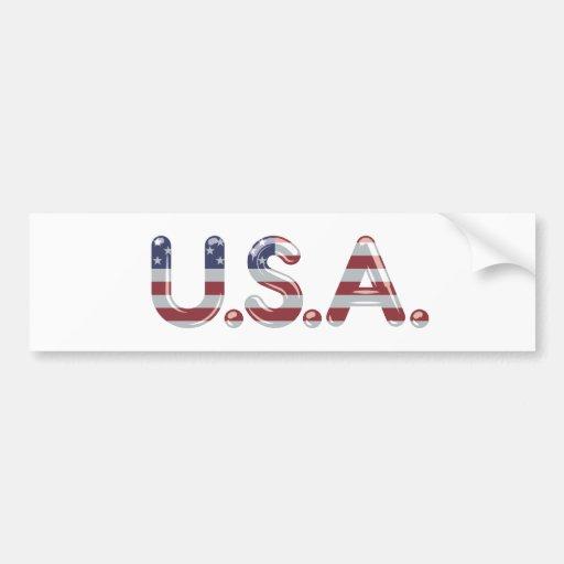 USA in chrome lettering Bumper Sticker