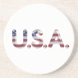 USA in chrome lettering Coaster