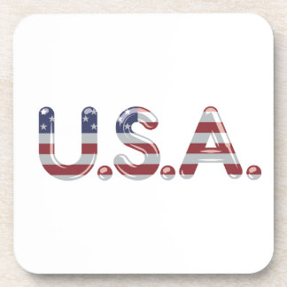 USA in chrome lettering Drink Coaster