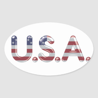 USA in chrome lettering Oval Sticker