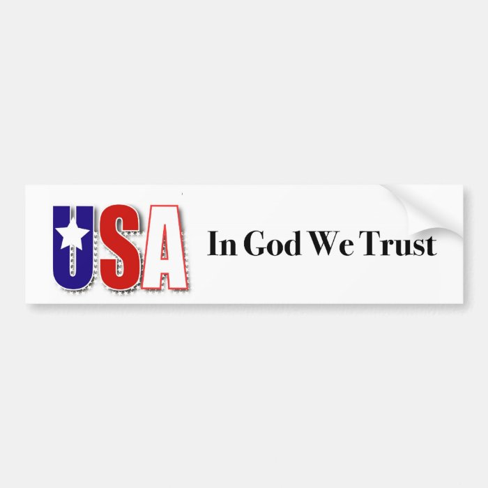 """USA """"In God We Trust"""" bumper sticker"""