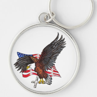 USA In God We Trust Eagle Silver-Colored Round Keychain
