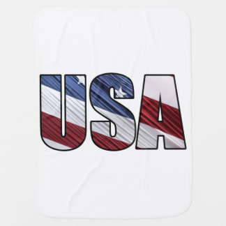 USA in Red White and Blue American Patriotic Flag Swaddle Blanket