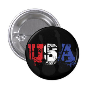 USA in Red White and Blue Grunge 1 Inch Round Button