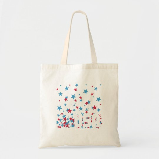 USA in Red White & Blue Stars Tote Bag