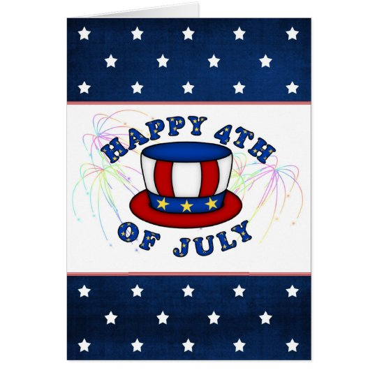 USA Independence Day Card. Uncle Sam's hat, stars Card