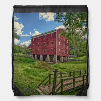 USA, Indiana, Cutler. Adams Mill Drawstring Bag