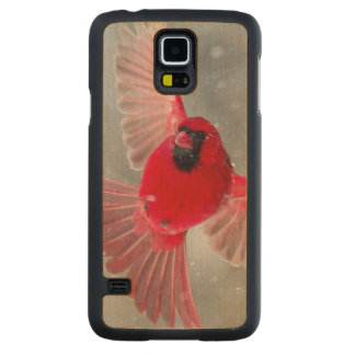USA, Indiana, Indianapolis. A male cardinal Carved Maple Galaxy S5 Case