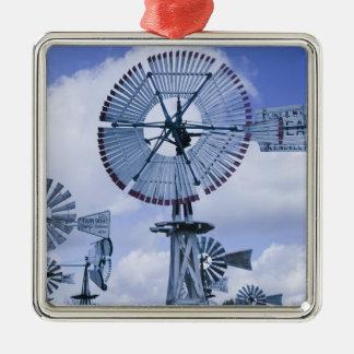 USA, Indiana, Kendallville: Mid, America 2 Square Metal Christmas Ornament