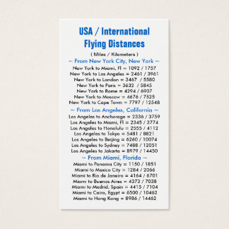 USA / International Flying Distances Business Card