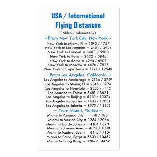 USA / International Flying Distances Double-Sided Standard Business Cards (Pack Of 100)