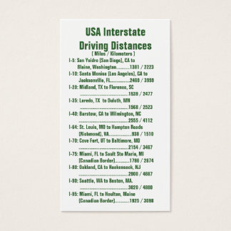 USA Interstate Driving Distances Business Card