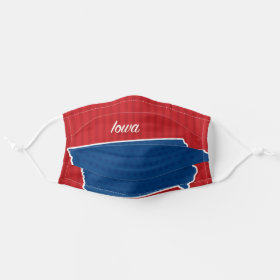 USA Iowa State Stars and Stripes Map Cloth Face Mask
