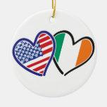 USA Ireland Heart Flags Ceramic Ornament