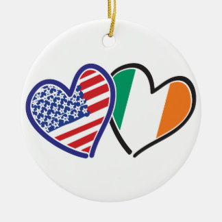 USA Ireland Heart Flags Ceramic Ornament