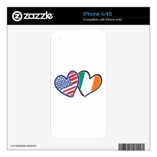 USA Ireland Heart Flags Decals For iPhone 4S