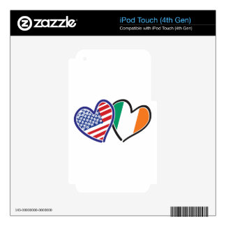 USA Ireland Heart Flags Decals For iPod Touch 4G