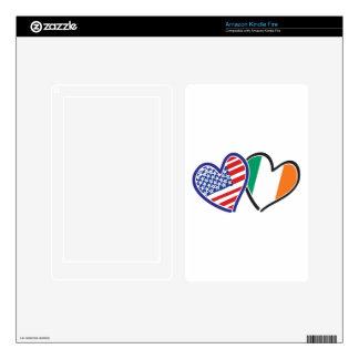 USA Ireland Heart Flags Kindle Fire Skin