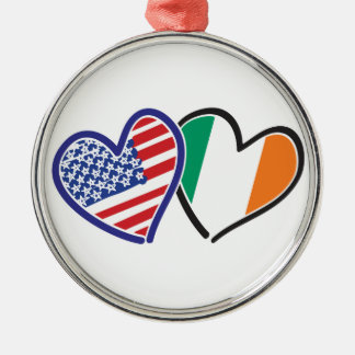 USA Ireland Heart Flags Metal Ornament