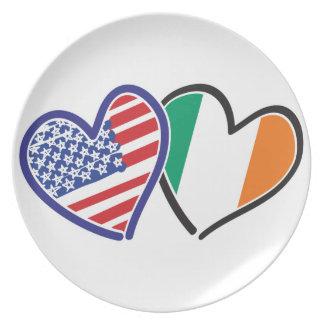 USA Ireland Heart Flags Party Plates