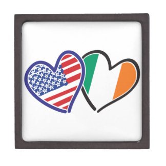 USA Ireland Heart Flags Premium Jewelry Boxes