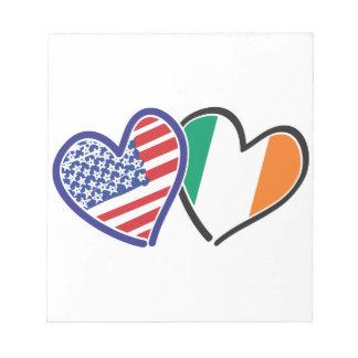 USA Ireland Heart Flags Scratch Pads
