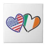 USA Ireland Heart Flags Tile