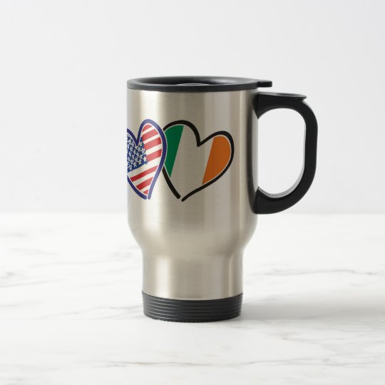 USA Ireland Heart Flags Travel Mug