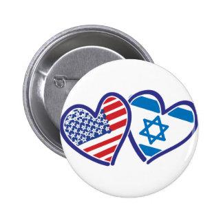 USA Israel Heart Flag Pinback Buttons