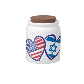 USA Israel Heart Flag Candy Dish