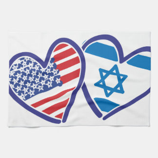 USA Israel Heart Flag Hand Towels