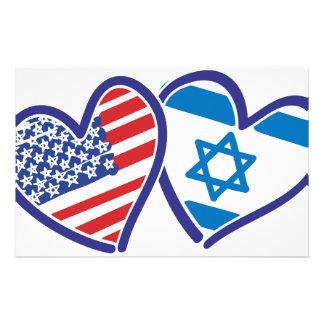 USA Israel Heart Flag Custom Stationery