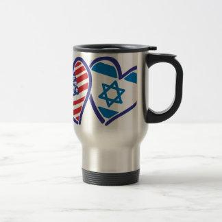 USA Israel Heart Flag Travel Mug