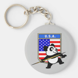 Basic Button Keychain with USA Javelin Panda design