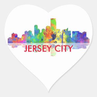 USA, JERSEY CITY SKYLINE - Heart shaped sticker