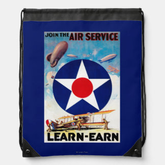 USA - Join the Air Service Learn-Earn Drawstring Bag