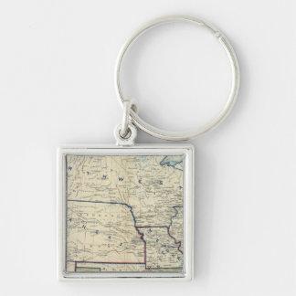 USA June 1864 Silver-Colored Square Keychain