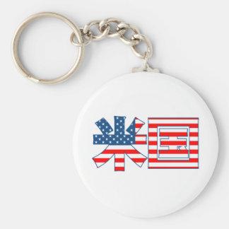 Usa Kanji Flag Keychain