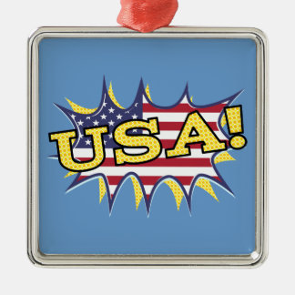 """USA """"KAPOW flag starburst Christmas Tree Ornaments"""