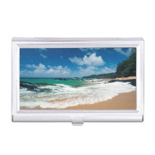 Surf beach business card holders cases zazzle usa kauai hawaii a woman strolls the rocks case for business cards reheart Images