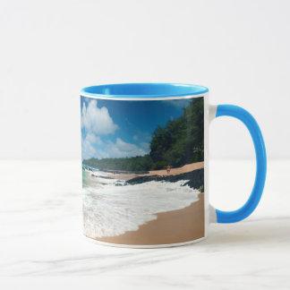 USA, Kauai, Hawaii. A Woman Strolls The Rocks Mug