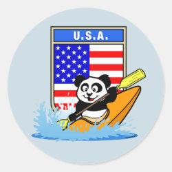Round Sticker with USA Kayaking Panda design