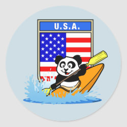 Round Sticker with USA Kayaking Panda design
