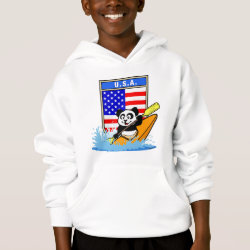 Girls' American Apparel Fine Jersey T-Shirt with USA Kayaking Panda design