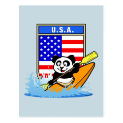 Postcard with USA Kayaking Panda design